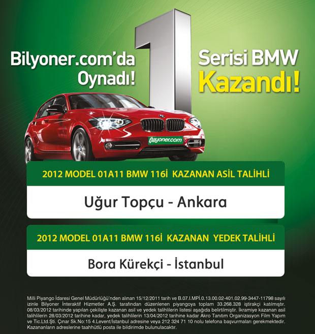 Yeni Yılın ilk hediyesi BMW 1.16 Bilyoner.com'da!
