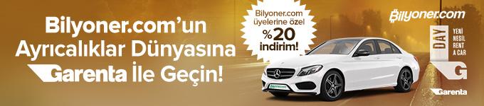 Bilyoner üyelerine günlük araç kiralama Garenta farkı ile %20 indirimli!